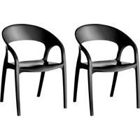 Conjunto Com 2 Cadeiras De Plástico Glass Preto