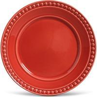 Prato Raso Atenas Cerâmica 6 Peças Vermelho Porto Brasil