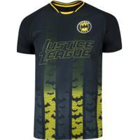 Camiseta Liga Da Justiça Batman Fard - Masculina - Preto/Amarelo