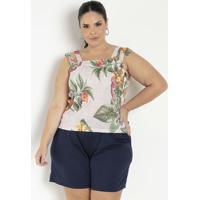 Blusa Floral Bege Com Alças Duplas Plus Size