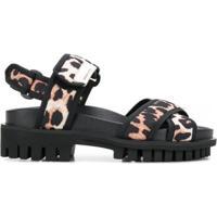 Ganni Sandália Com Estampa De Leopardo - Preto