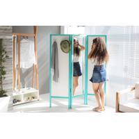 Biombo Com Espelho Em Mdf E Madeira Cabideiro Divisor De Ambientes Ammy Branco Com Azul 138X165 Cm