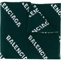 Balenciaga Cachecol De Tricô Com Logo - Verde