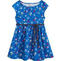Vestido Floral Com Amarração - Azul & Rosa- Kids