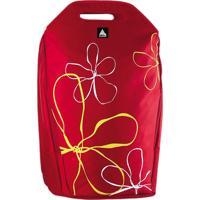 """Mochila P/ Notebook Clone 15.6"""" Nylon Vermelha Com Flores 2290"""