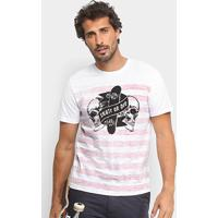 Camiseta Mood Striped Skull Masculina - Masculino-Branco