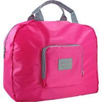 Bolsa De Viagem Dobrável- Pink & Cinza- 41X35X16Cm