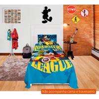 Jogo De Cama Infantil Com 3 Peças Mickey Aventura Sobre Rodas Algodão Azul