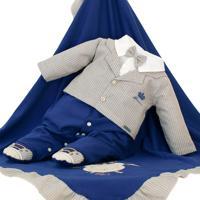 Saída De Maternidade Fofinho Social Príncipe Azul Marinho
