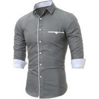 Camisa Social Slim Forro Branco - Cinza
