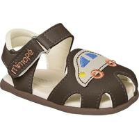 Sandália Papete Infantil Masculino Carrinho Mimopé - Masculino-Marrom Escuro