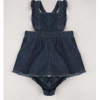 Salopete Jeans Infantil Com Babado + Calcinha Azul Escuro