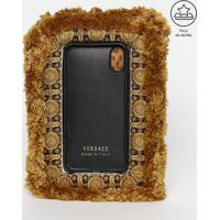 Capa Para Iphone X Em Couro Com Almofada - Marrom Claro Versace