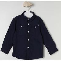 Camisa Com Bolsos- Azul Marinho & Branca- Milonmilon