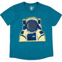 "Camiseta Mescla ""Astronauta""- Verde Escuro & Amarelo Clatip Top"