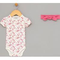 Body Infantil Estampa Floral Com Tiara - Tam 0 A 18 Meses