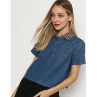 Blusa Jeans Cropped - Azul & Vermelha- My Favorite Tmy Favorite Things