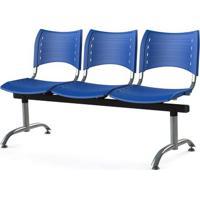 Longarina Iso Com 3 Lugares Assento Azul Base Cromada - 55247 Sun House