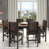 Conjunto De Mesa E Cadeira De Jantar 150X84 Cm Tabaco Floral Escuro Ii