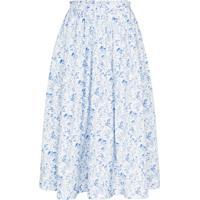 Anouki Saia Midi Com Franzido E Estampa Floral - Azul
