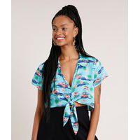 Camisa Feminina Cropped Estampada De Coqueiro Com Nó Manga Curta Azul