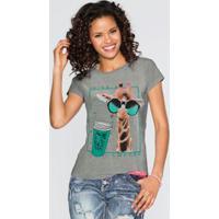 Camiseta Com Estampa Cinza