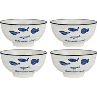 Jogo Kasa Ideia 4 Bowls De Porcelana Peixes Branco