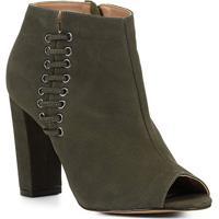 Ankle Boot Shoestock Open Boot Nobuck Feminina - Feminino-Verde
