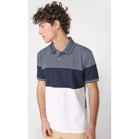 Camisa Polo Aleatory Reta Textura Azul/Branca