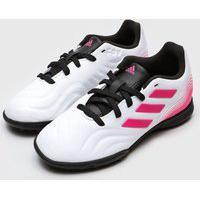 Chuteira Adidas Infantil Copa 21 3 Society Jr Branca/Rosa