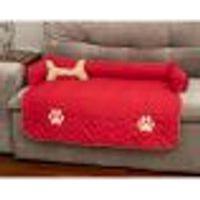 Protetor De Sofá Pet Cachorro Ou Gato Vermelho Matelado Grande 96Cm X 88Xm X 15Cm + Almofada Ossinho