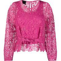 Pinko Blusa Com Detalhe De Renda - Rosa