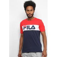 Camiseta Fila Letter Colors Masculina - Masculino-Marinho+Vermelho