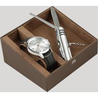 Kit De Relógio Analógico Mondaine Masculino + Canivete - 83408G0Mvnh1Ka Prateado - Único