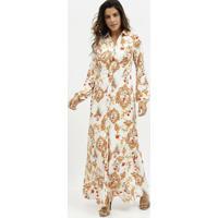 Vestido Longo Arabescos- Off White & Dourado- Miliormiliore