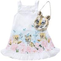 Vestido Infantil Gabriela Aquarela E Bolsa Oncinha