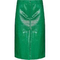 Tibi Saia Cintura Alta Com Efeito Croco - Verde