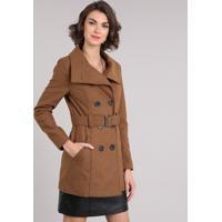 Casaco Feminino Trench Coat Com Cinto Caramelo