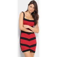 Vestido Unk Brand Listrado Feminino - Feminino-Vermelho