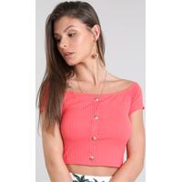 Blusa Feminina Cropped Ombro A Ombro Canelada Com Botões Manga Curta Coral