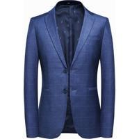 Blazer Masculino Xadrez Lansboter - Azul Xgg
