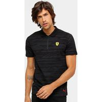 Camiseta Pólo Puma Scuderia Ferrari Aop Masculina - Masculino-Preto