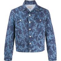 Fiorucci Nico Jacquard-Logo Denim Jacket - Azul