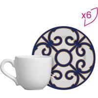 Conjunto De Xícaras De Café Geométrico- Branco & Azul Esscalla Cerâmica