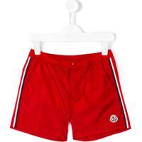 Moncler Kids Shorts De Natação Com Listras Laterais - Vermelho