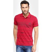 Camisa Polo Em Piquet Estampada Polo Rg 518 Manga Curta Masculina - Masculino-Vermelho
