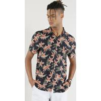 0c6d7de596909 CEA  Camisa Masculina Estampada Floral Manga Curta Preta