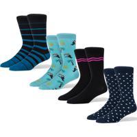 Meias - Kit 4 Iork - Blue Stripe, Tropikal, Pink & Poah - Coloridas
