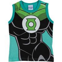 Camiseta Regata Justice League Infantil Para Menino - Verde