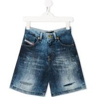 Diesel Kids Camisa Jeans Destroyed Com Lavagem Estonada - Azul